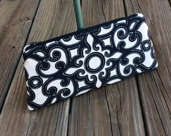 Black and Ecru Scroll Applique Wristlet