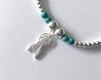 Sterling Silver and Turquoise Dream Catcher Stretch Bracelet, Gift, Bridesmaid Jewellery, Jewelry