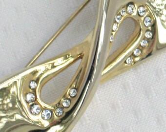 80s Bow Tie Brooch Vintage Jewelry White Rhinestones GoldTone Metal