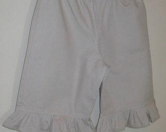 Girls Khaki Ruffle Capri Pants School Uniform Khaki Ruffled Boutique Style Capri Length Pants