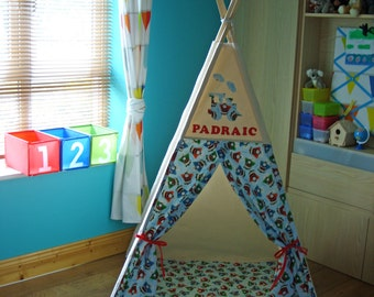 Teepee, Trains Teepee, Boys Teepee, Kids Teepee, Tipi, Tepee, Toddler Teepee, Wigwam, Teepee made in Ireland, 100% Cotton Canvas