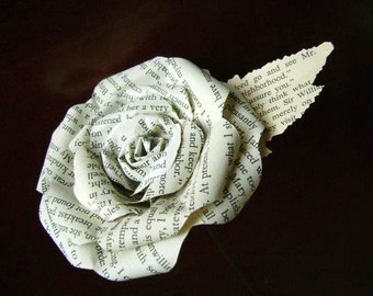 Jane Austen Sense and Sensibility book paper flower rose made from a recycled novel