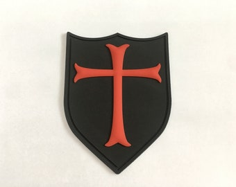 3D PVC Cross Crusader Shield Rubber Tactical SEAL Black Red Morale Patch