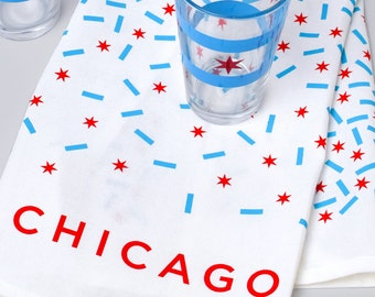 Chicago Flag Confetti Kitchen Towel