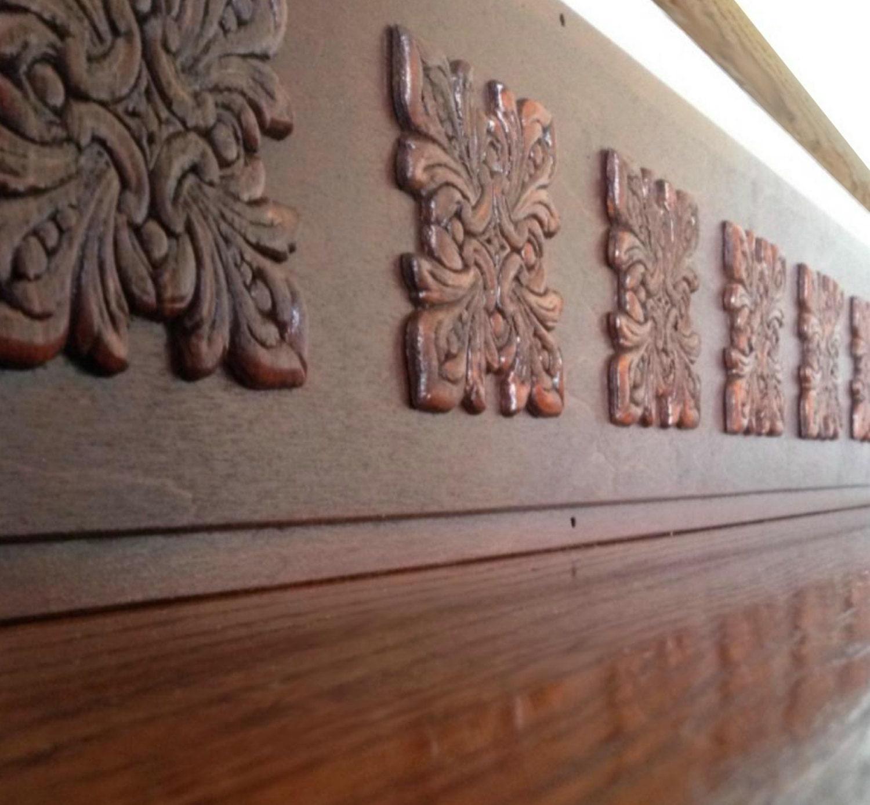 Faux Carved Wood Look Alternative to Vinyl Stair Decals &