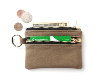 Keychain Wallet Canvas Coin Purse Double Zipper Pouch Tan