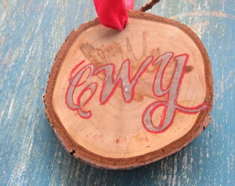 Rustic Cherokee Ornament- Silver with red outline