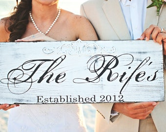 Custom Original Vintage Family Name Sign with a beautiful Embellishment. 10 X 24 inches. Wedding, Birthday, Holiday, Anniversary Gift Idea.