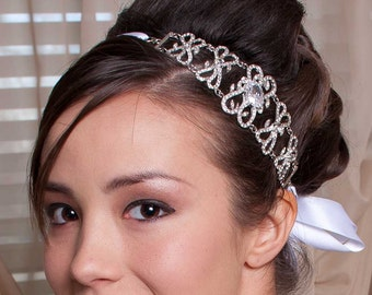 Karen - Vintage Style Rhinestone Ribbon Headband