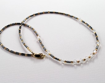 Hematite and Gold Beaded Necklace, Crystal Beaded Necklace, Edgy Minimalist Necklace, Boho Glam layering necklace, modern dainty necklace
