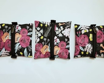 Ju Ju Be Black and Bloom Onyx Sparkle Glitter Vinyl Clear First Aid Center Zipper Pouch Essentials Diaper Bag Floral Purse accessory Jujube