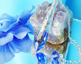 Dowsing Pendulum, Swarovski Crystal Metaphysical Magic Wand, Sapphire Blue Divining Pendulum