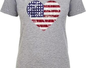 4th of July shirt for women, American flag shirt for women, American Flag Clothing, Patriotic, Army, Marine, Air Force, V neck, hear shirt