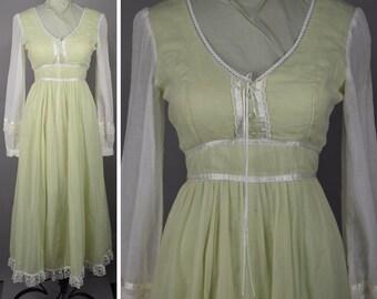 Vintage 70s Sheer Mint Green Gunne Sax Prairie Dress XS S