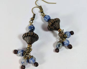Sodalite and Bronze Earrings, Long Dangles, Statement Earrings, Denim Look, Blue and White Earrings, Beaded Dangles