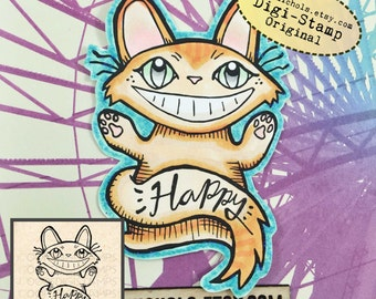 Happy Cat Digital Stamp - Neko Digital Stamp - Digistamp - Coloring Pages - Printable Sticker - Clip Art - Printables