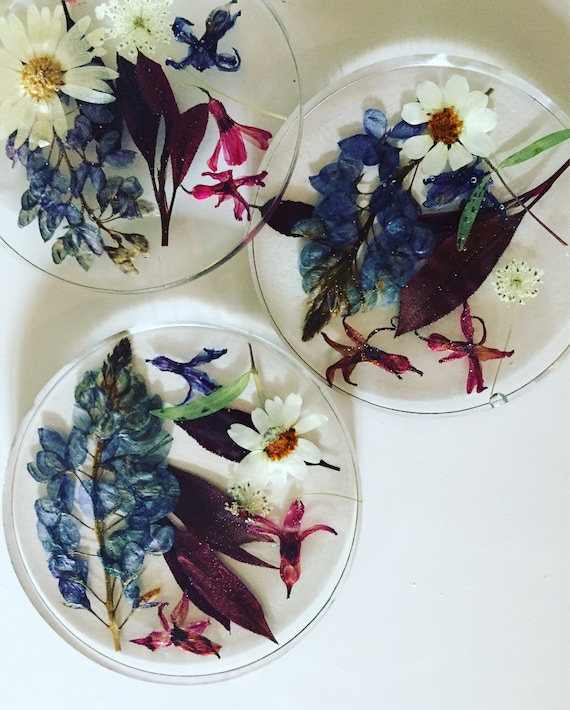 Real Flower Resin Coaster- Bluebonnet Texas Wildflower- Red White & Blue- Botanical Decor- Housewarming- Clear Resin and Real Flowers