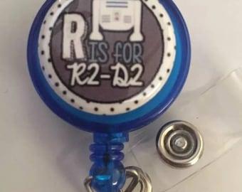 Retractable badge holder, R2-D2, Star Wars, Medical office nurse badge