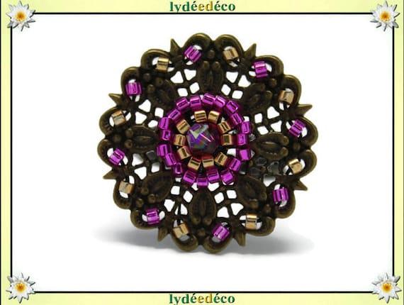 Ring flower weaving print Japanese retro vintage rose gold brass bronze 25mm glass beads