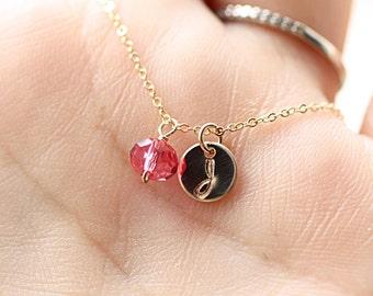 Gold Initial Birthstone Necklace - Swarovski Crystal Hand Stamped Initial Charm - Personalized Monogram - Dainty Birthstone Necklace