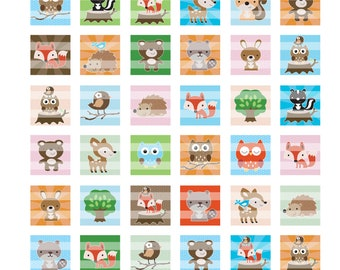 Woodland Animals Colors 1 inch Squares Digital Collage Sheet