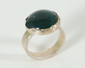 Green Agate ring - Sterling Silver stone Ring