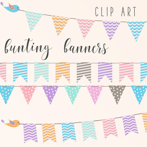 BUNTING FLAGS Pastel Banners Clipart Party Banner