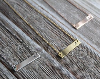16k Gold Plated Wave Bar Necklace | downbytheseaglass