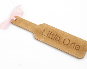 Ddlg BDSM wooden spanking paddle - custom fetish punishment paddle engraved with Little One perfect for Daddy's girl - MATURE