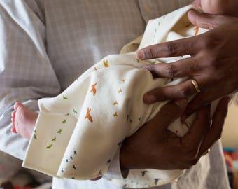 Organic Swaddle Blanket // Eco Swaddle // Birds // Organic Cotton // Gender Neutral // Baby Gift