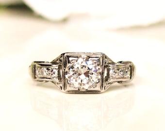 Art Deco Engagement Ring VVS Clarity Old European Cut Diamond 0.55ctw Diamond Wedding Ring Antique Platinum Engagement Ring Size 5