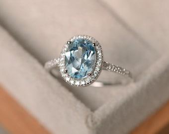 March birthstone aquamarine ring, sterling silver, halo ring gemstone, engagement ring
