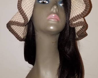 Woman's Crochet Tan Cotton SunHat, Floppy Hat, Beach Hat.