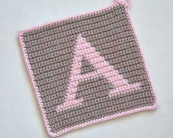"Letter ""A"" Potholder Crochet Pattern - for beginners"