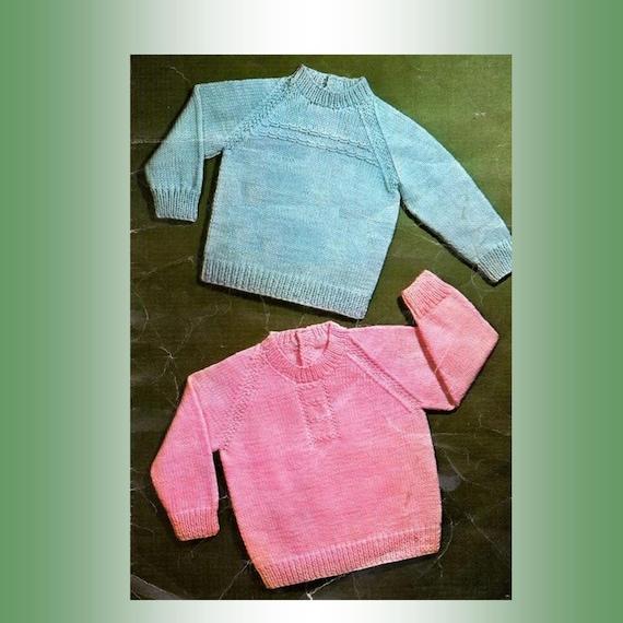 Pdf Knitting Pattern 2 Classic Raglan Baby Sweaters 8 Ply Yarn