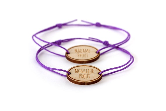 Set of two custom bracelets for couple, lovers or friends - 25 colors - graphic unisex jewelry - adjustable - lasercut maple wood