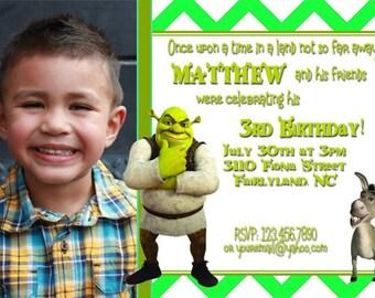 Shrek Birthday Party Invitations - Birthday Party Invitation -