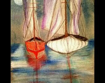 POSTCARD Moonlight Sailboats Nautical Coastal Sailing Boat Ship Ocean Art Print Scott D Van Osdol 4x6 Of My Original Artwork Ready To Frame