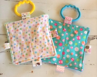 """Baby girl crinkle toys, 5"""" crinkle toy set, stars and bubbles crinkle toys, busy mom toys, machine washable"""