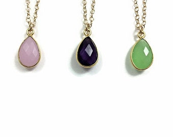 Teardrop Crystal Necklace Gold- Small Stone Necklace Amethyst Pendant- Simple Stone Necklace- Pink Chalcedony Necklace- Minimalist Necklace