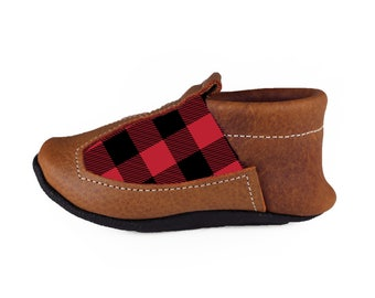 Red Buffalo Plaid ( Faux Suede Upper ) Baby Shoes, Moccasins, Moccs