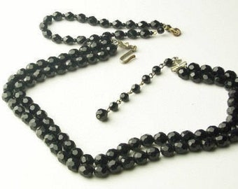 Vintage 2 Strand Jet Black 1940's Old Hollywood Glamour Cut CRYSTAL NECKLACE & Bracelet Costume Jewelry Demi Parure Gift For Her on Etsy