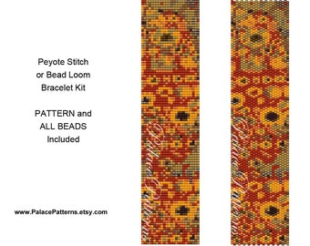 Bead Loom or Peyote Stitch Bracelet KIT P18 - Klimt 11 - Delica 11/0 Beads and Pattern Included