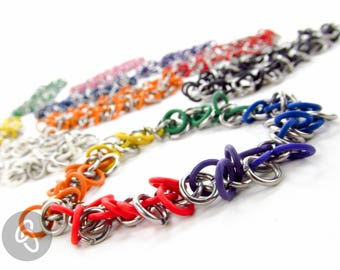 Stretchy Chainmaille Bracelet - Floppy Pattern - Pick Your Color