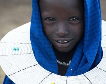 Maasai Girl (Blue Hood) - Tanzania, Africa, Ngorongoro