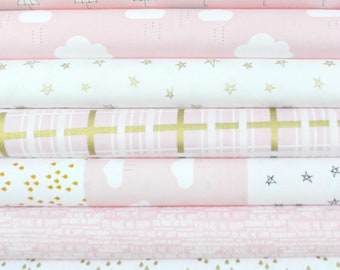 When Skies Are Grey Pink Fat Quarter Bundle by Simple Simon and Company for Riley Blake, 7 pieces