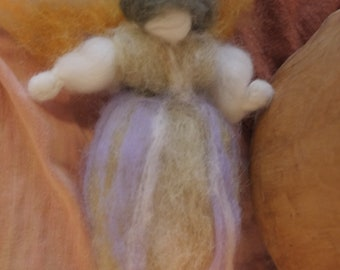autumn fairy suspended natural felted wool Waldorf doll whool wolle