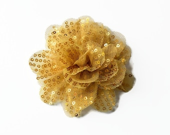 "Sequin and Tulle Flowers. 3.5"" GOLD Sequin Flowers. QTY: 1 Flower. ~~ Noelly Collection."