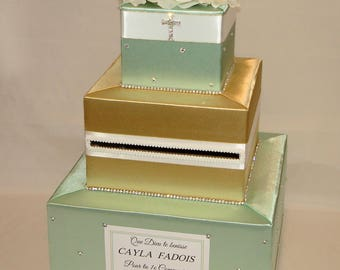 Baptism/Christening/Holy Communion Card Box-any color choice