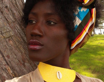 The Sun: Asymmetrical, Pebbled, Vinyl Collar Necklace With Cowrie Shell